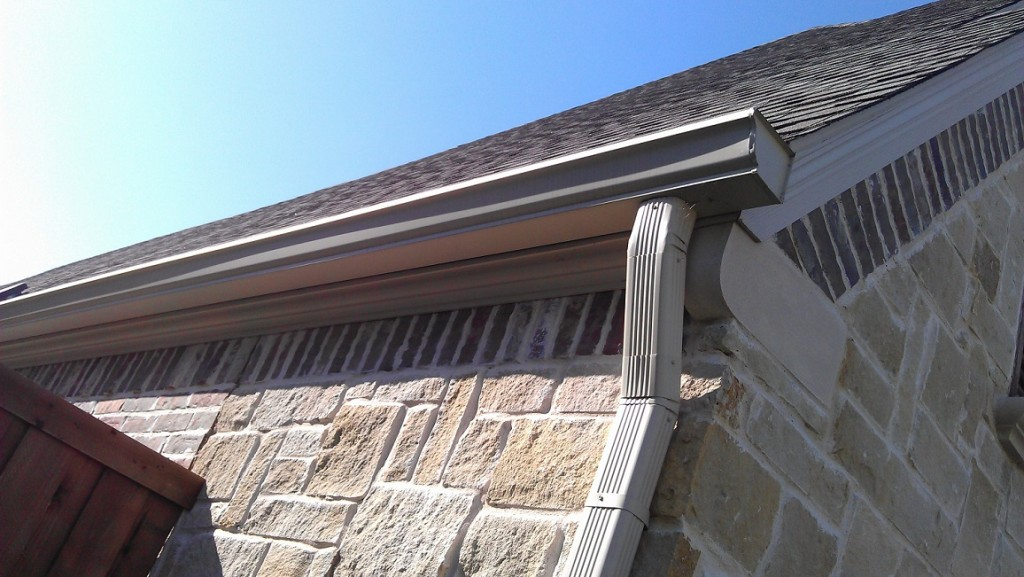 steep roof with gutters